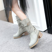 Big Size  Autumn Winter Women Belt Buckle Strappy Thick Heel Riding Mid Calf Boots