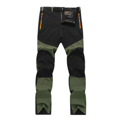 Mens Spring Fall Outdoor Soft Shell Water-repellent Quick-Dry Breathable Stitching Sport Pants