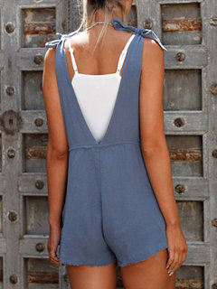 Casual Pure Color Bandage Sleeveless Rompers For Women