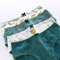 Soft Cotton Mid Waist Printing Elastic Breathable Panties For Women