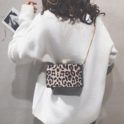 Women Flannel Leopard Square Bag Crossbody Bag