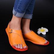 Большой размер Женское Ретро-сплошной цвет Пряжка-клипса Toe Flat Сандалии