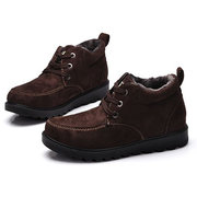 Men's Fabric Warm Plush Lining Metal Eyelets Lace Up Casual Ankle Boots
