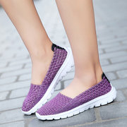 Comfortable Knitting Pure Color Weave Flat Casual Shoes For Women