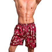 Loose Printing Silk Soft Breathable Home Knee Length Shorts Pajamas for Men