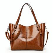 أنيقة النفط الشمع بو الجلود المرقعة حقيبة عالية السعة الكتف حقيبة كروسبودي حقائب للنساء