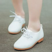 Girls Pure Color Lace Up Casual Comfy Flat Shoes For Kids