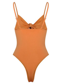 Sexy Front Tying Hollow Adjusted Backless One Piece Swimwear For Women