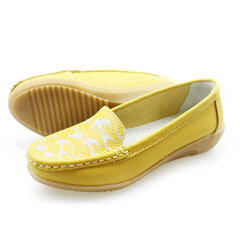 Printing Slip On Leather Loafers Flat Casual Shoes For Women