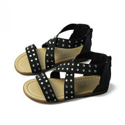 Girls Leopard Kids Cross Elastic Band Rhinestone Sandals