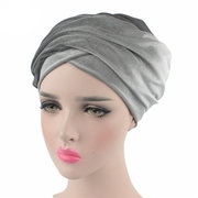 Women Mixed-use Warm Pure Color Turban Hats Causal Windproof Beanie Hats