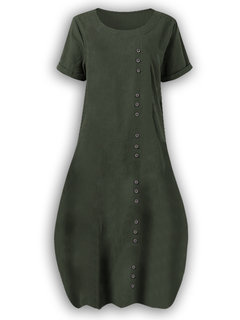 Solid Color Button Short Sleeve Casual Plus Size Dress