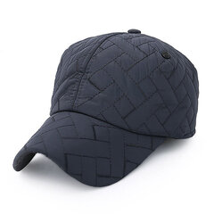 Men Solid Embroidery Buttons Baseball Cap With Earmuff Outdoor Sport Warm Polo Hat Adjustable