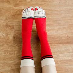 Femmes Toes Motif Respirant Coton Drôle Chaussettes Casual Haute Élastique Pile Chaussettes Long Tube Chaussettes