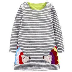 Padrão de animal de manga longa Vestido de bebê Vestidos infantis para roupas de meninas