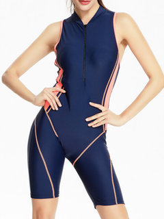 Front Zipper Turtleneck Hollow Back Conjoined Sports Swimsuit For Women