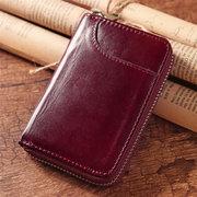 RFID Cartera corta de cuero genuino con 12 bolsillos tarjeteros