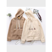 Solid Color Thick Warm Lamb Hooded Sweatshirt