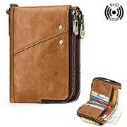 RFID Couro Genuíno 12 Slot Para Cartão Casual Multifuncional Carteira Dupla Zip Retro Bolsa Para Mulheres Dos Homens