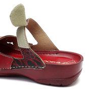 SOCOFY Vintage Flowers Pattern Splicing Genuine Leather Stitching Hook Loop Slip On Sandals