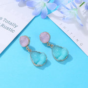 Ethnic Crystal Earrings Drop Colorful Water Drop Long Style Earrings For Women