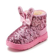 Girls Bling Bowknot Rabbit Ears Warm Lining Snow Boots For Kids