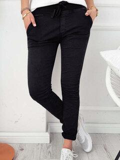 Pantaloni skinny in cotone tinta unita con coulisse