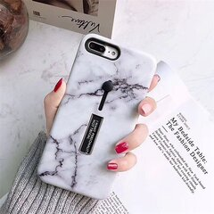 Women Men Marble Strip Bracket TPU+PC Back Cover iPhone Phone Case