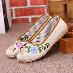 Floral Print Slip On Retro Flat Embroidery Breathable Shoes