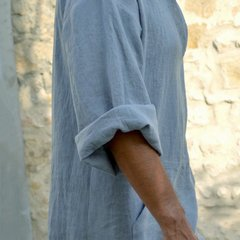 Mens Kaftan Vintage Loose V-neck Splits Long Dress Long Sleeve Tops Shirts