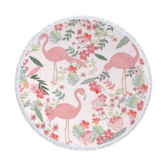 Flamingo Round Beach Towel With Tassels Microfiber 150cm Picnic Blanket Mat Tapestry