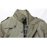 Mens Fashion Solid Oversize Slim Fit Thin Trench Coat Stand Collar Jacket