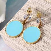 JASSY® Sweet Candy Color Brincos Robin Egg Blue Coin Pendant Zirconia Jóias Femininas Lovely Gift