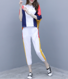 Women's Large Size Two-piece Pants Stitching Hooded Shirt Nine Pants Casual Suit