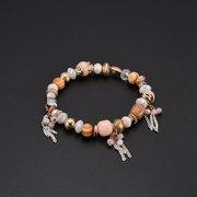 Bohemian Beaded Bracelets Pink Irregular Beads Chain Tassels Charm Bracelet for Women