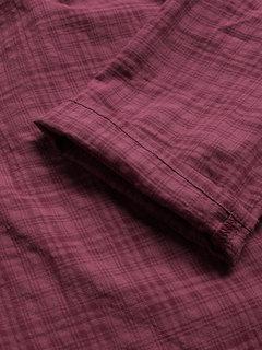 Vintage Langarmhemd mit V-Ausschnitt und kariertem Seitenknopf in Größe Plus