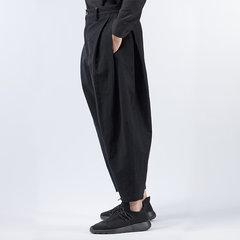 Mens Multi-Fold Baumwolle Leinen lose einfarbig Mitte Taille lässig Harem Hosen