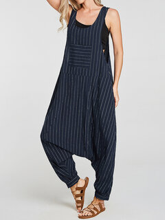 Print Stripes Drop Crotch Overall Pocket Casual Jumpsuit