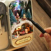 DIY Christmas Dollhouse Wooden Miniature Kit With Voice Control Light Christmas Gift