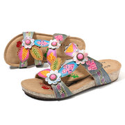 SOCOFY Hand Painted Genuine Leather Retro Gems Floral Pattern Hook Loop Comfortable Sandals