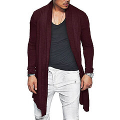 Mens Spring Fall mediados de largo color sólido Casual Cardigans con bolsillo