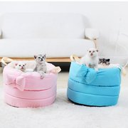6 Colors Pet Bow Tie Soft Warm Nest Dog Cat Winter Sleeping Bed Kennel