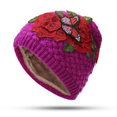 Women Warm Ethnic Style Sunshade Embroidery Knit HeadBand Outdoor Windproof HeadBand