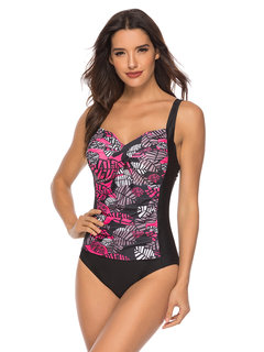 Plus Size Print Patchwork Slimming One Piece Swimwear For Women