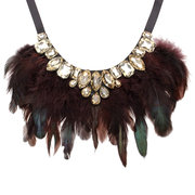 Feather Crystal Pendant Ribbon Collar Statement Necklace