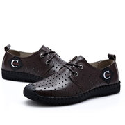 Men Anti-collision Toe Hollow Out Stitcing Breathable Outdoor Casual Shoes