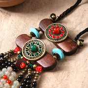 Ethnic Jewelry Necklace Vintage Wood Crystal Sweater Women Necklaces