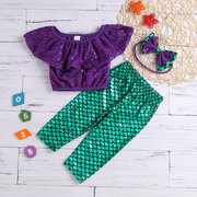 3Pcs Mermaid Girls Sets Top + Pantaloni + Fascia per 1-7 anni