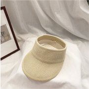 Japanese Breathable Cotton Paper Grass Empty Top Hat Day Solid Color Sun Protection Sun Visor Foldable Topless Wild Sun Hat