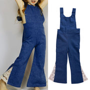 Lace Girls Denim Jumpsuits Overalls Backless Bowknot Jeans Flare Pants For 2Y-9Y